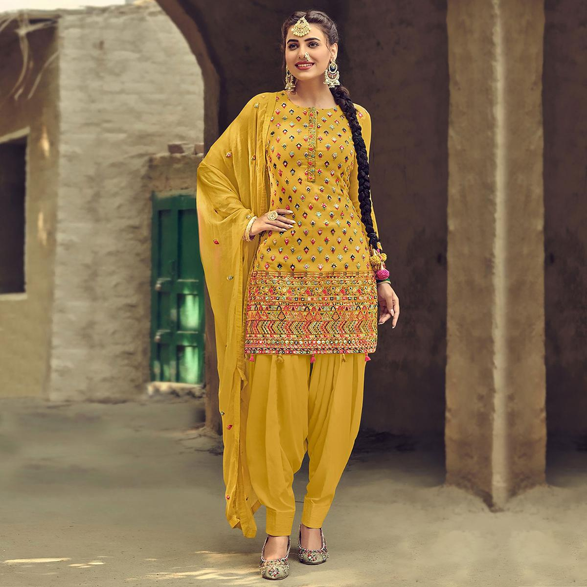 Entrancing Yellow Coloured Partywear Designer Embroidered Sequence Faux Georgette Patiala Suit