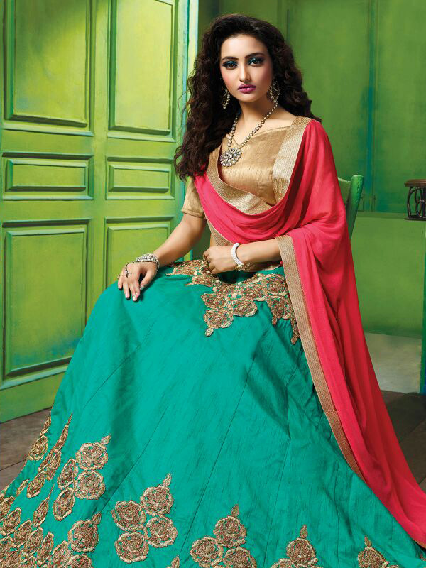 Attractive Turquoise Blue Colored Designer Embroidered Raw Silk Lehenga Choli