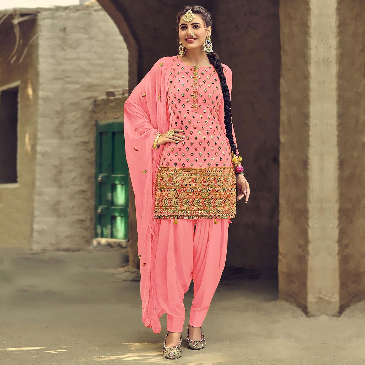 Blissful Light Pink Coloured Partywear Designer Embroidered Sequence Faux Georgette Patiala Suit