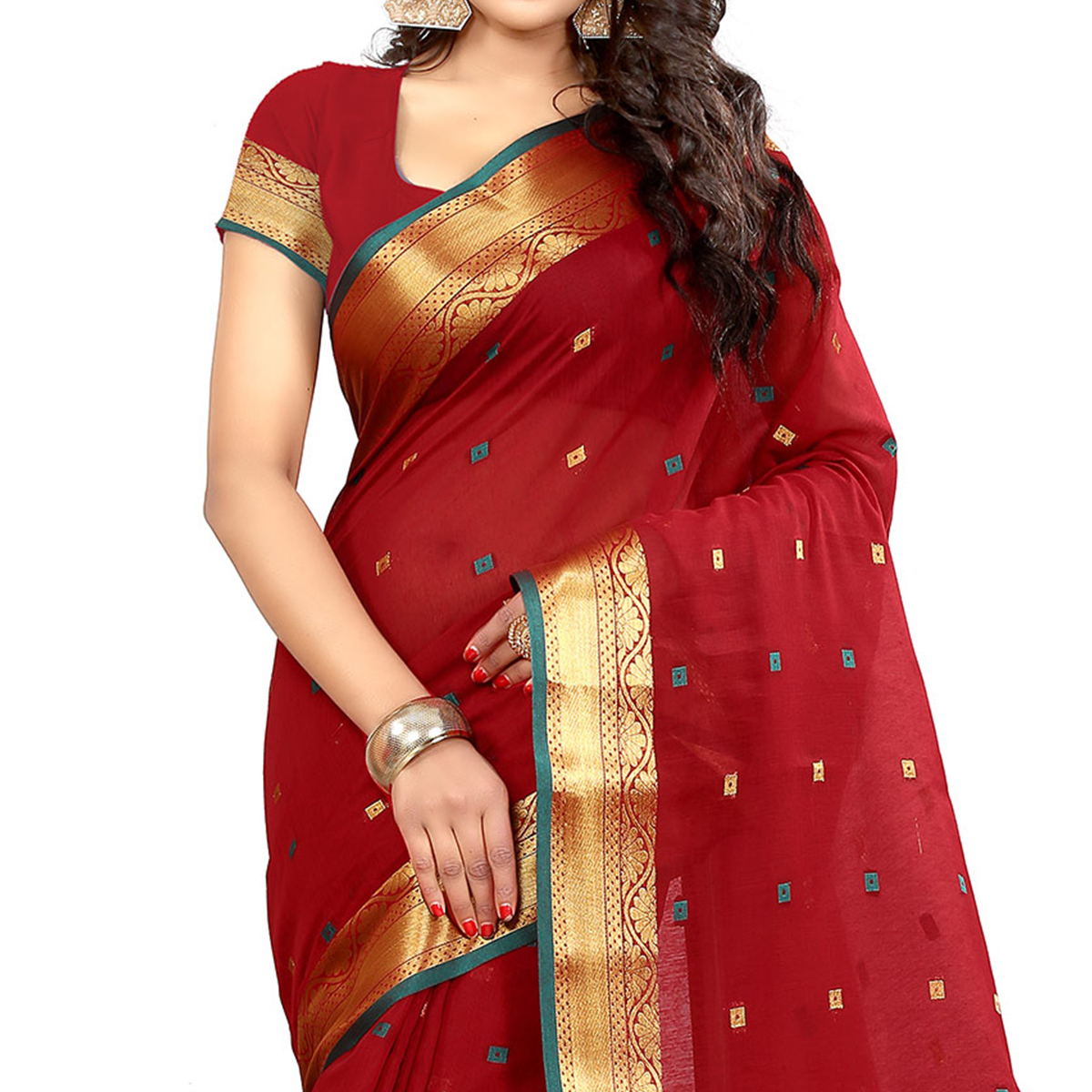 Red Cotton Woven Saree