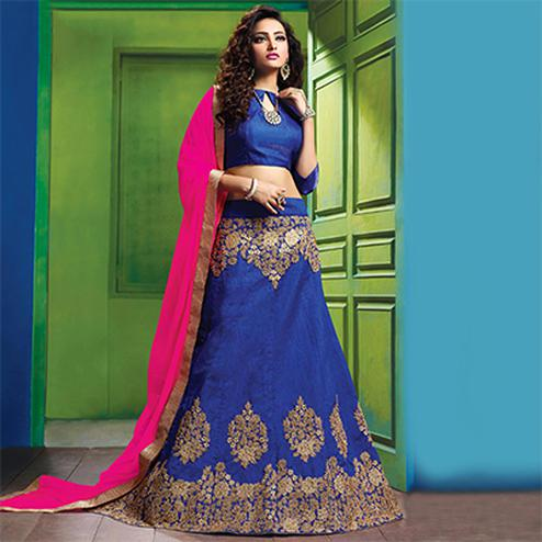 Dazzling Blue Colored Designer Embroidered Raw Silk Lehenga Choli