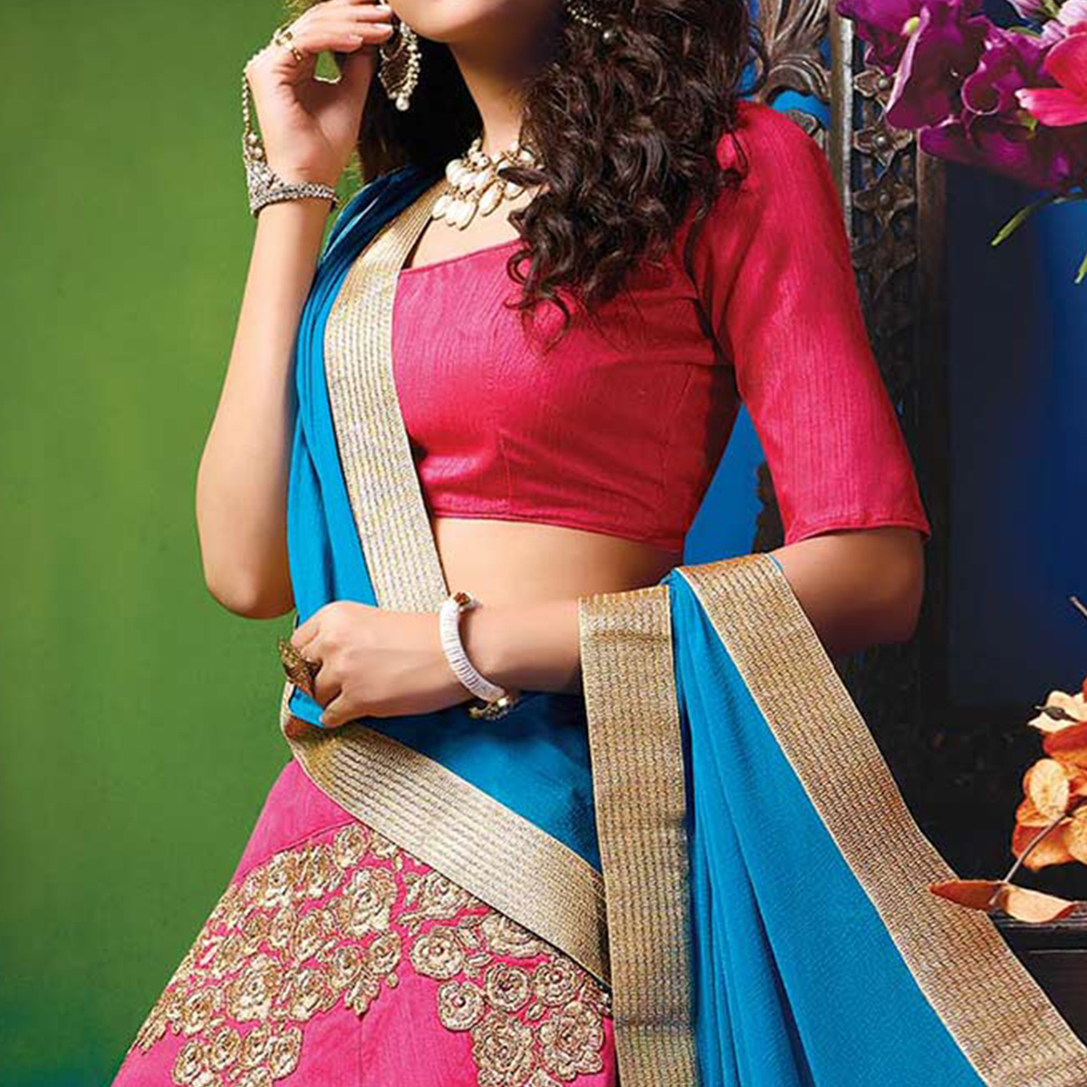 Pretty Pink Colored Designer Embroidered Raw Silk Lehenga Choli