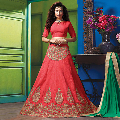 Alluring Peach Colored Designer Embroidered Raw Silk Lehenga Choli