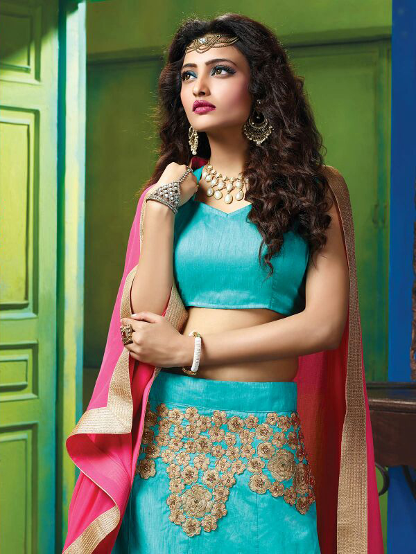 Appealing Blue Colored Designer Embroidered Raw Silk Lehenga Choli