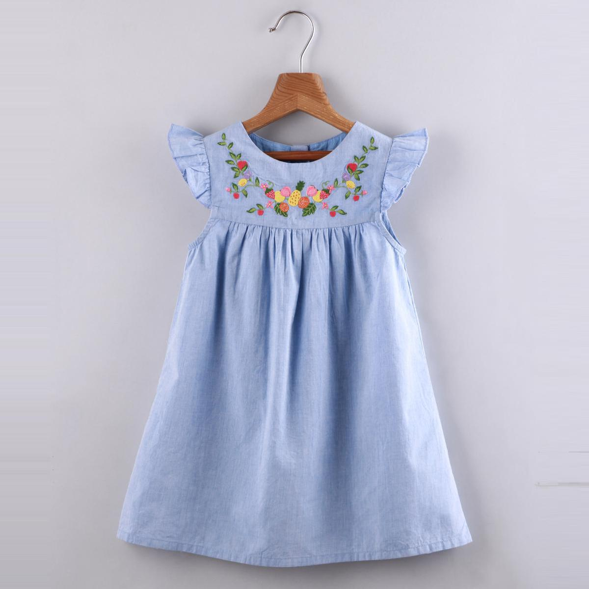 Beebay - Fruit Embroidered Chambray Dress (Blue)