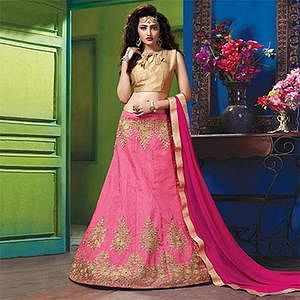 Lovely Pink Colored Designer Embroidered Raw Silk Lehenga Choli