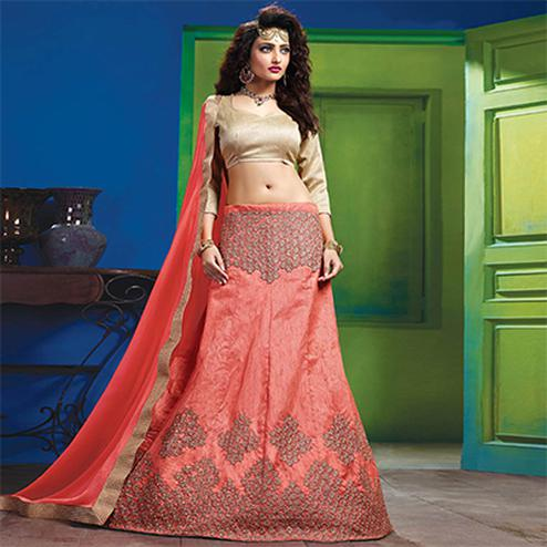 Mesmerising Peach Colored Designer Embroidered Raw Silk Lehenga Choli