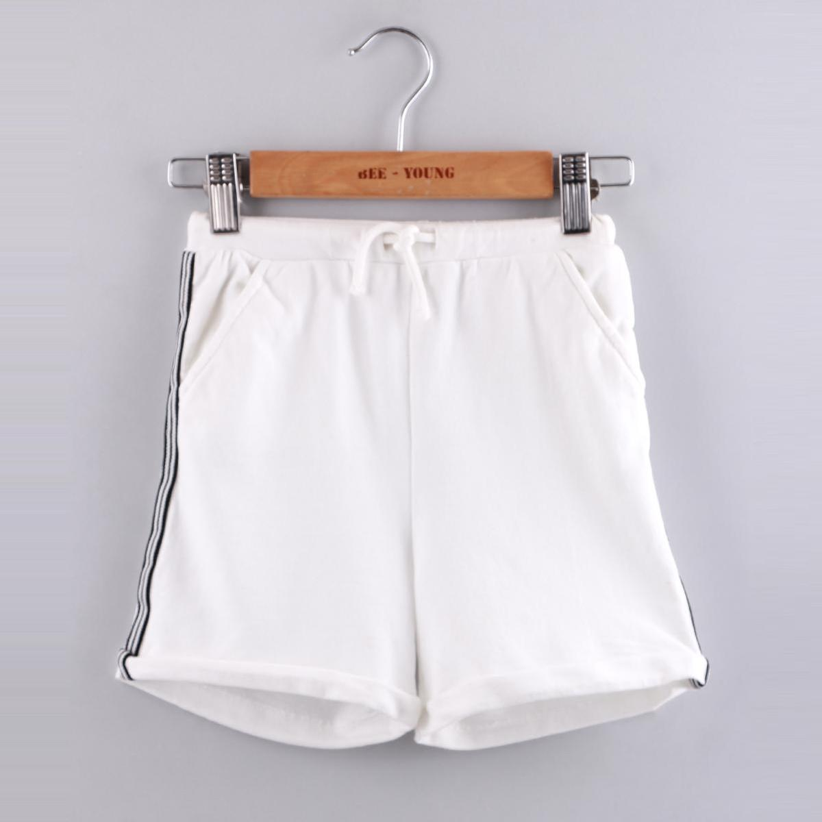 Beebay - Side Taped Pull-Up Knitted Shorts (White)