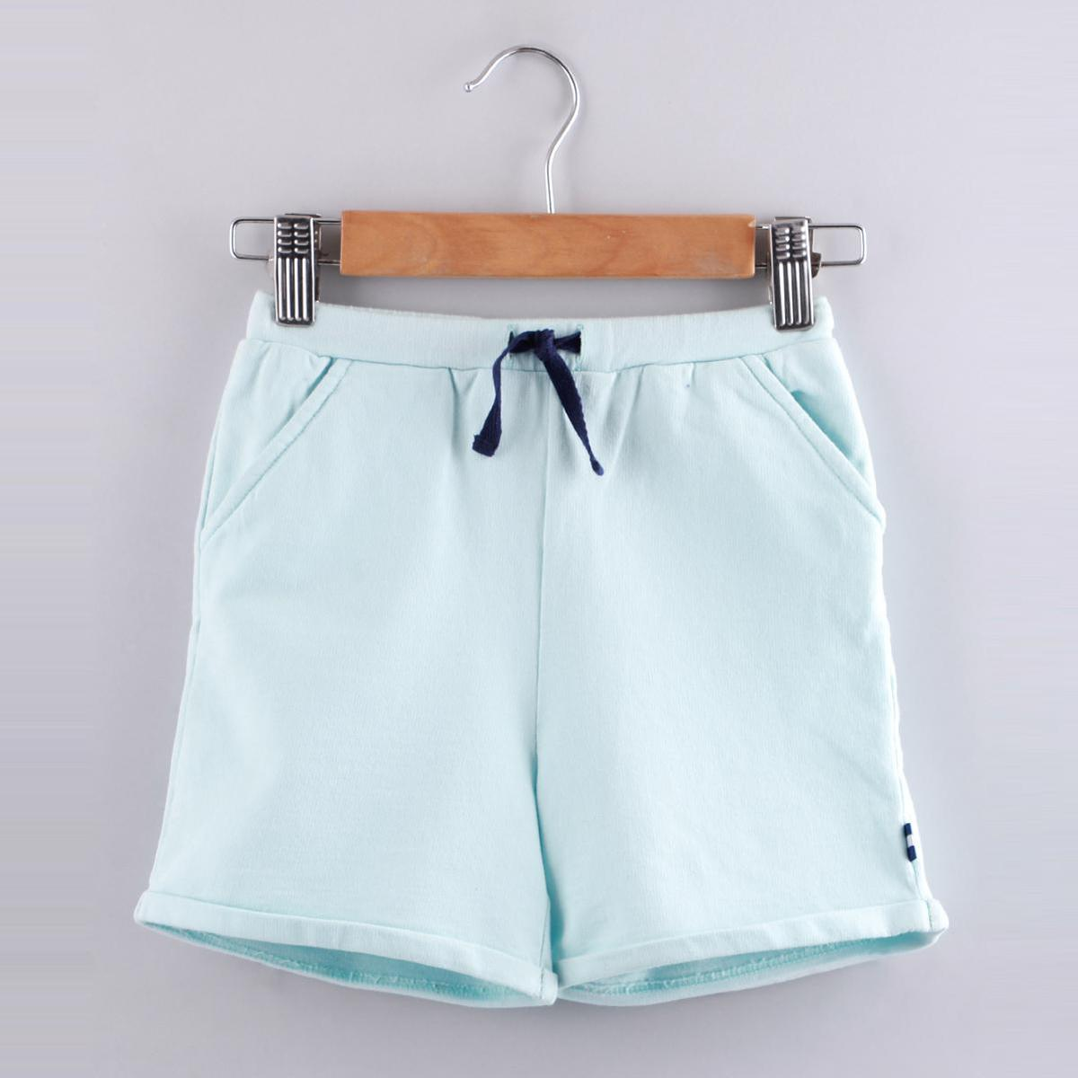 Beebay - Solid Aqua Pull-Up Knitted Shorts (Blue)