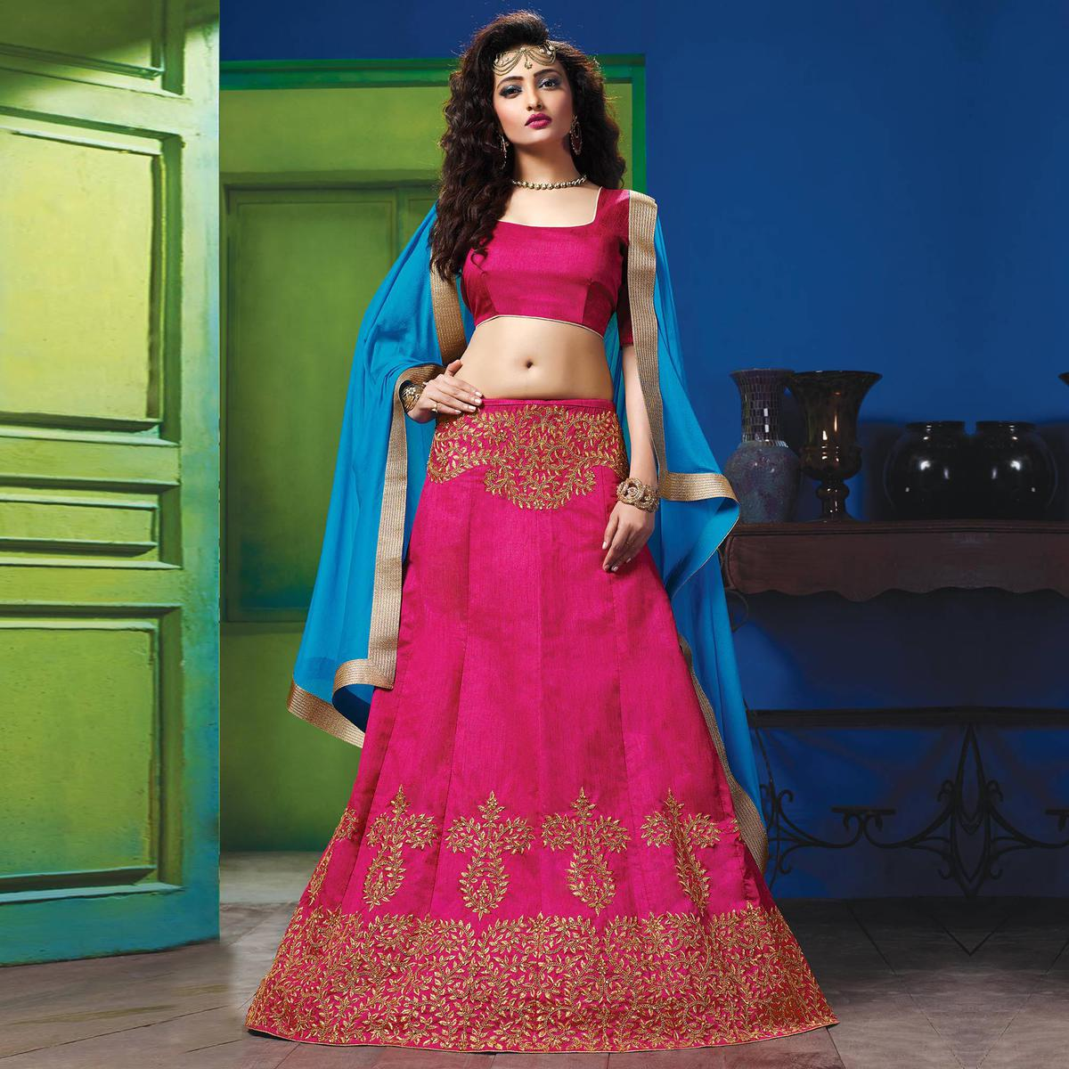 2bee49d47a Buy Hot Pink Colored Designer Embroidered Raw Silk Lehenga Choli for womens  online India, Best Prices, Reviews - Peachmode