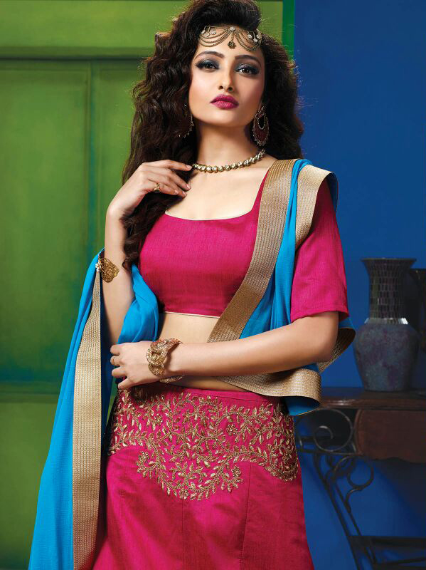 Hot Pink Colored Designer Embroidered Raw Silk Lehenga Choli