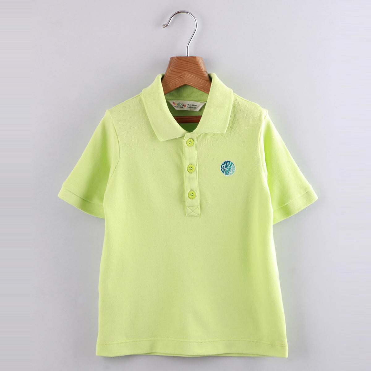 Beebay - Good Vibes Embroidery Polo T- Shirt (Green)