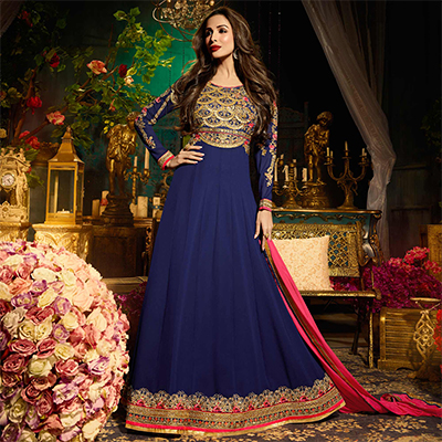 Mesmerising Navy Blue Colored Designer Embroidered Partywear Georgette Anarkali Suit