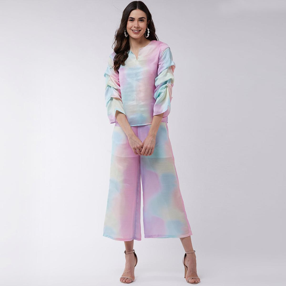 Zima Leto - Women's Multi Colored Candy Digital Printed Top With Pleated Sleeves And Matched Pants
