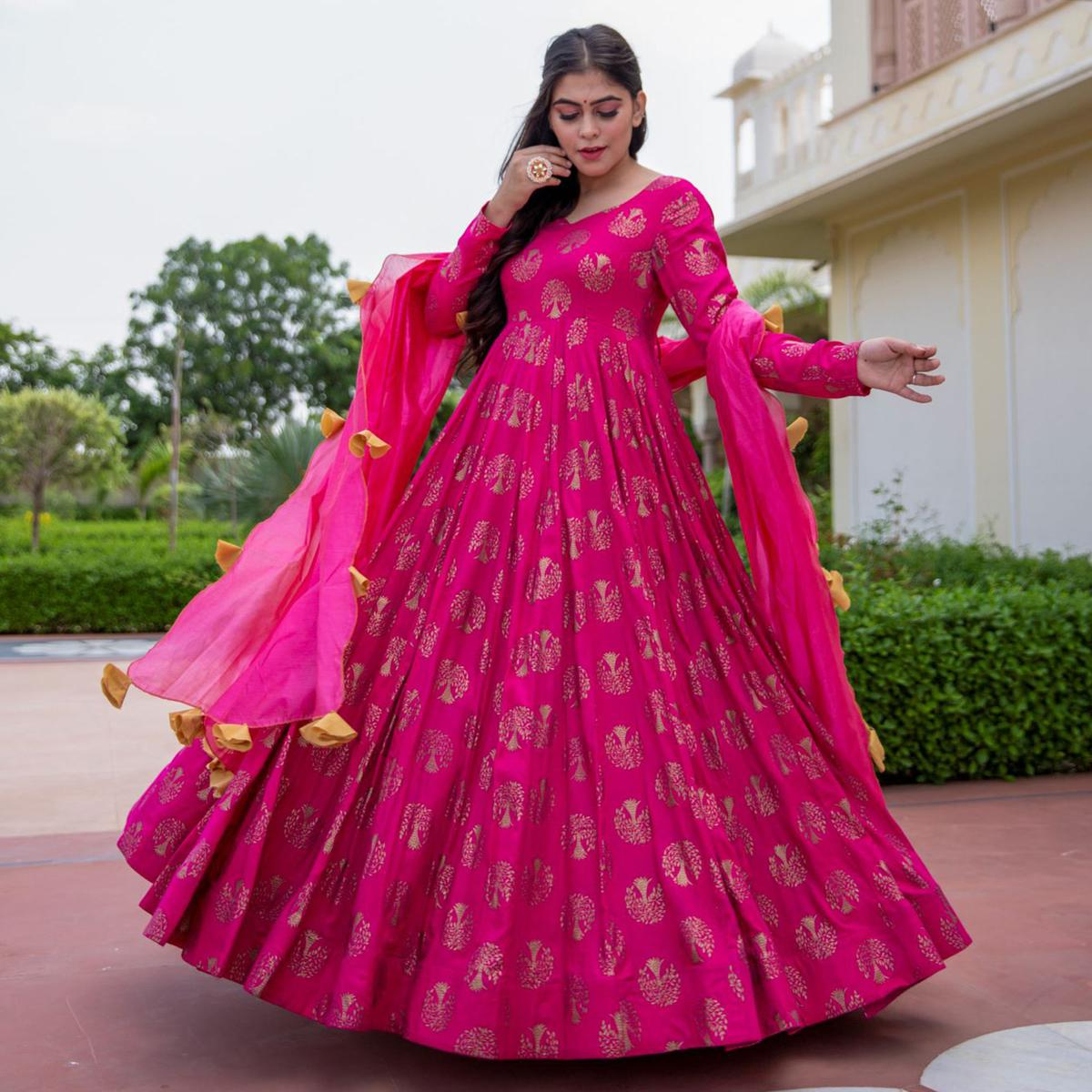 Beautiful Partywear Designer Goldish Pink Colored Pure Rayon Anarkali Suit With Dupatta