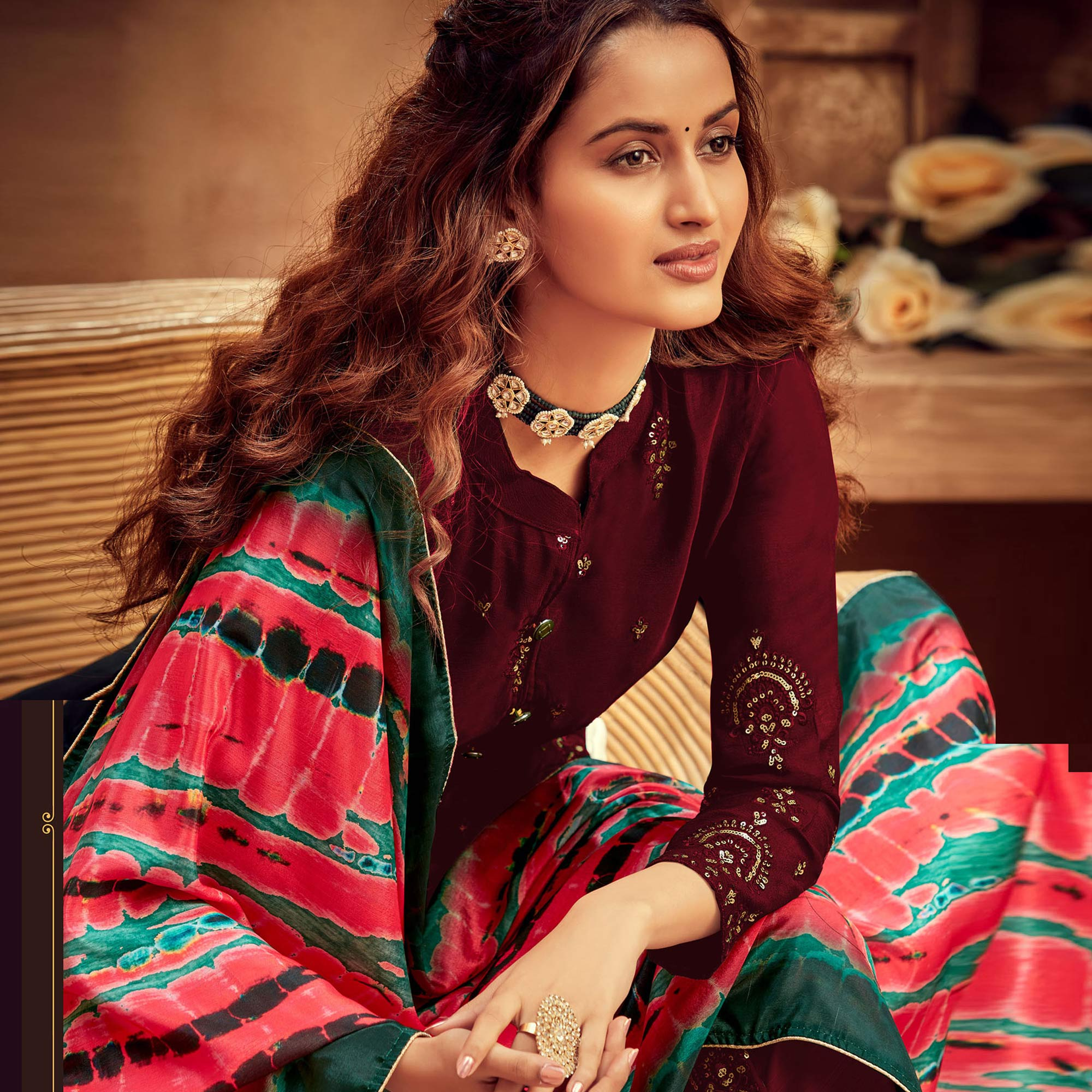 Blooming Maroon Colored Embroidered Designer Partywear Heavy Faux Georgette Suit