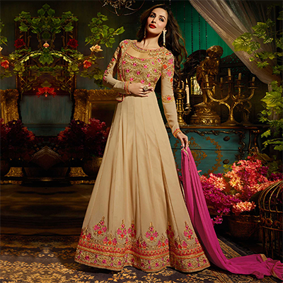 Elegant Beige Colored Designer Embroidered Partywear Georgette Anarkali Suit