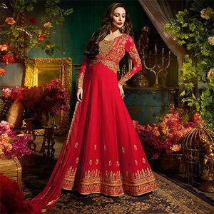 Tomato Red Colored Designer Embroidered Partywear Georgette Anarkali Suit
