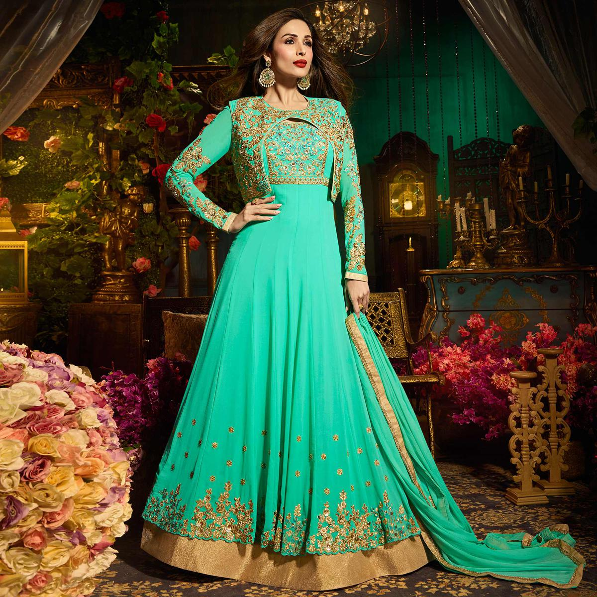 Buy Dazzline Teal Colored Designer Embroidered Partywear Georgette ...