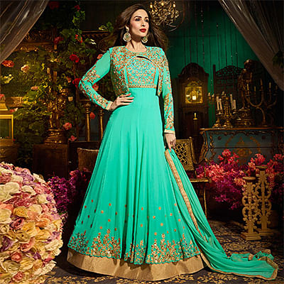 Dazzline Teal Colored Designer Embroidered Partywear Georgette Anarkali Suit