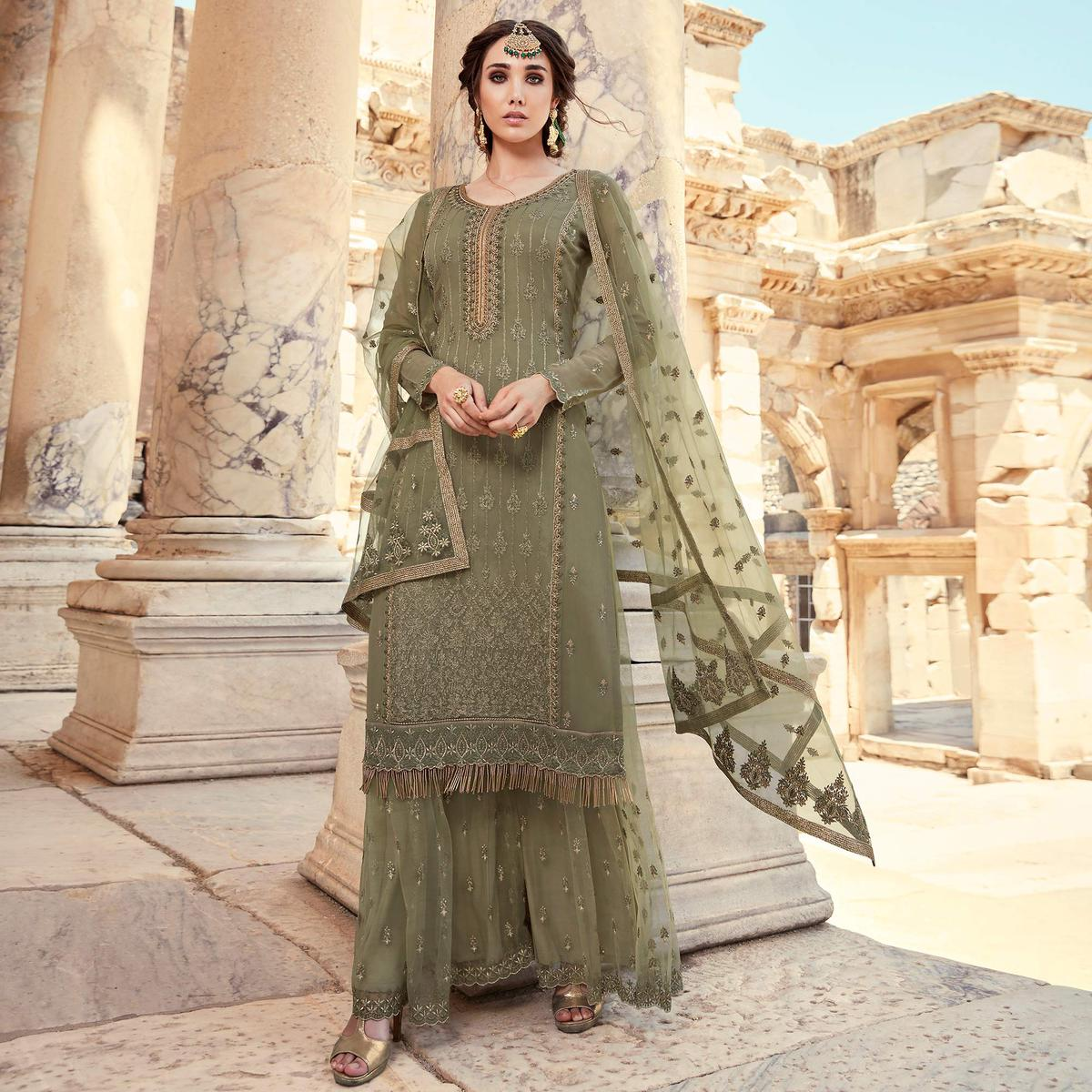 Classy Charcoal Coloured Designer Partywear Embroidered Heavy Faux Georgette Palazzo Suit