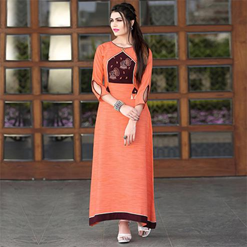 Charming Orange Colored Cotton Long Kurti