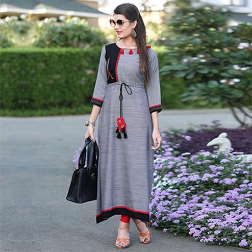Classy Grey Colored Cotton Long Kurti