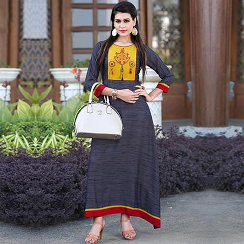 Elegant Dark Grey Colored Khadi Silk Long Kurti
