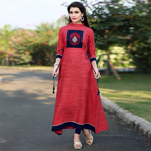 Ravishing Red Colored Khadi Silk Long Kurti