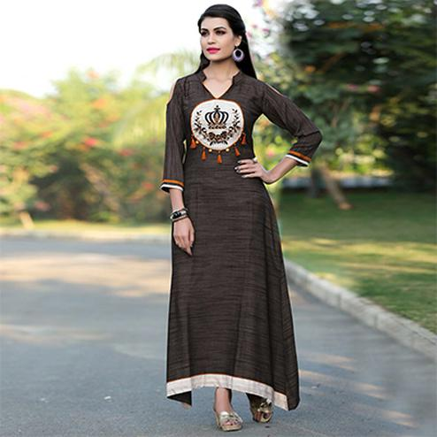 Pretty Brown Colored Khadi Silk Long Kurti