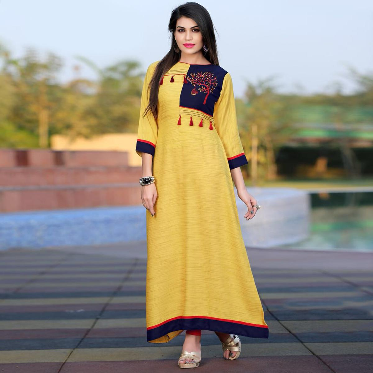 Bright Yellow Colored Khadi Silk Long Kurti