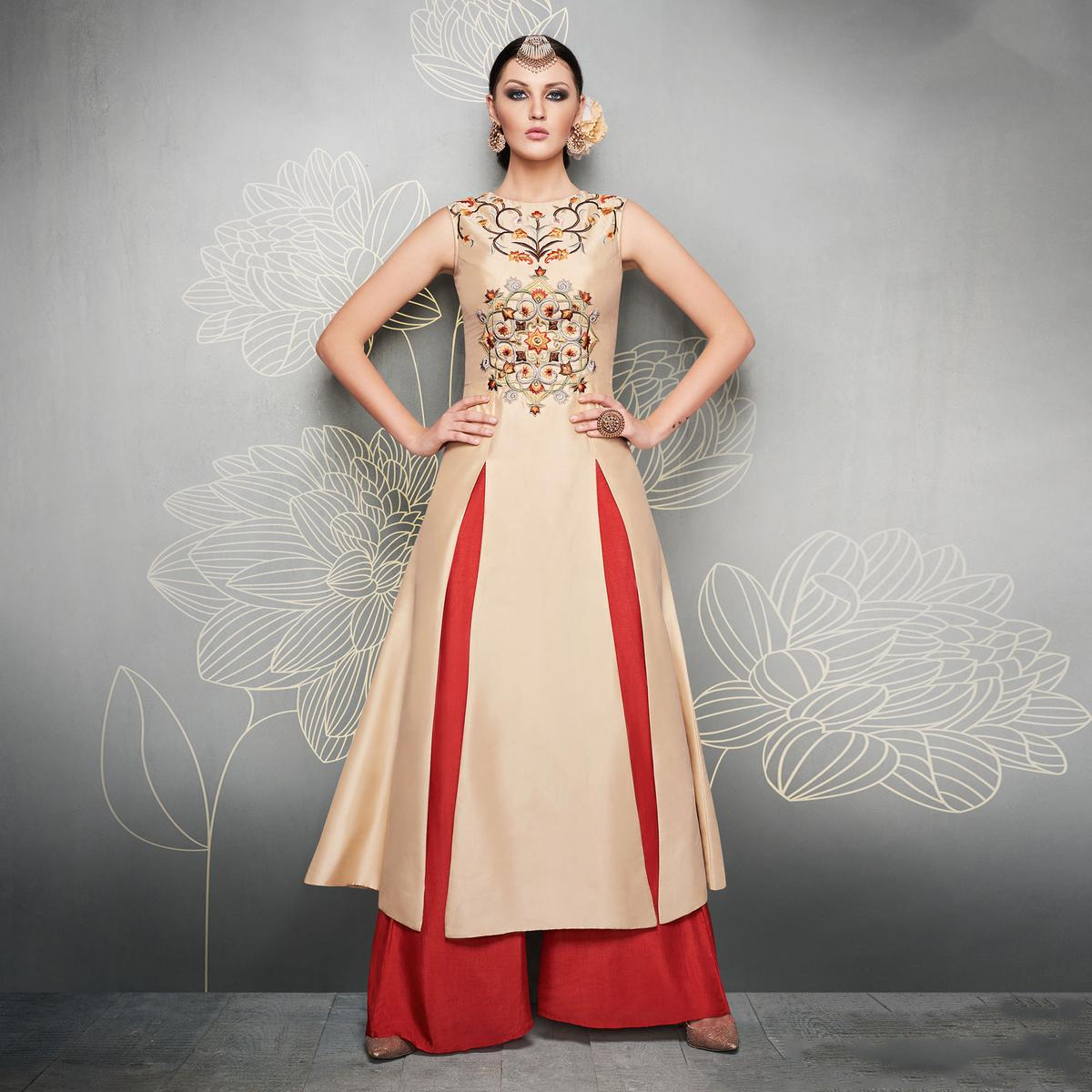 Beige And Red Designer Embroidered Party Wear Silk Palazzo Suits