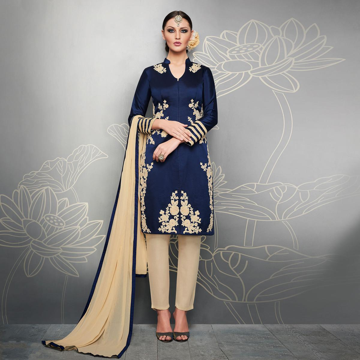 Blue Designer Embroidered Party Wear Silk Suit