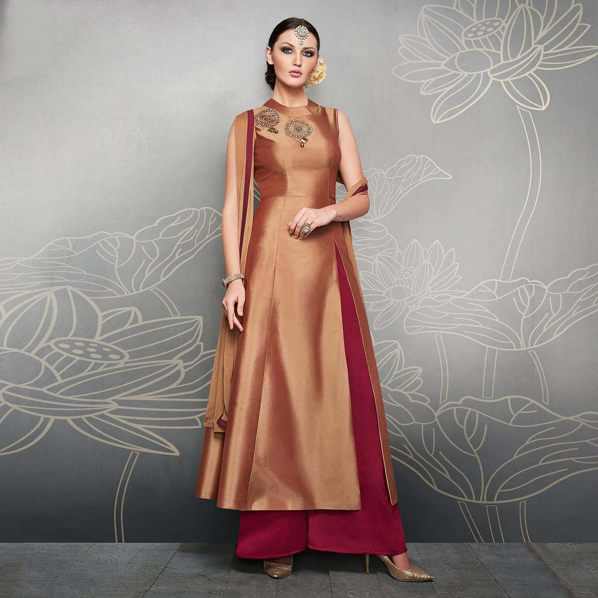 Brown And Maroon Designer Embroidered Party Wear Silk Palazzo Suits