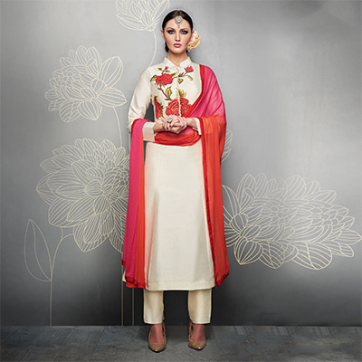 Off White Designer Embroidered Party Wear Silk Suit