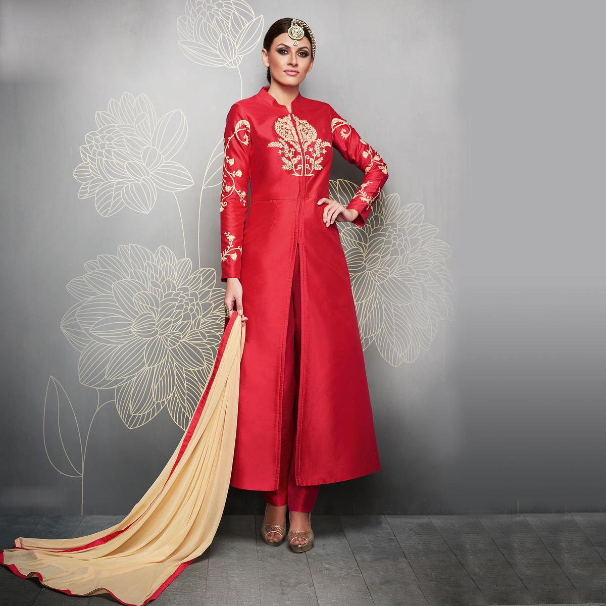 Red Designer Embroidered Party Wear Silk Suit