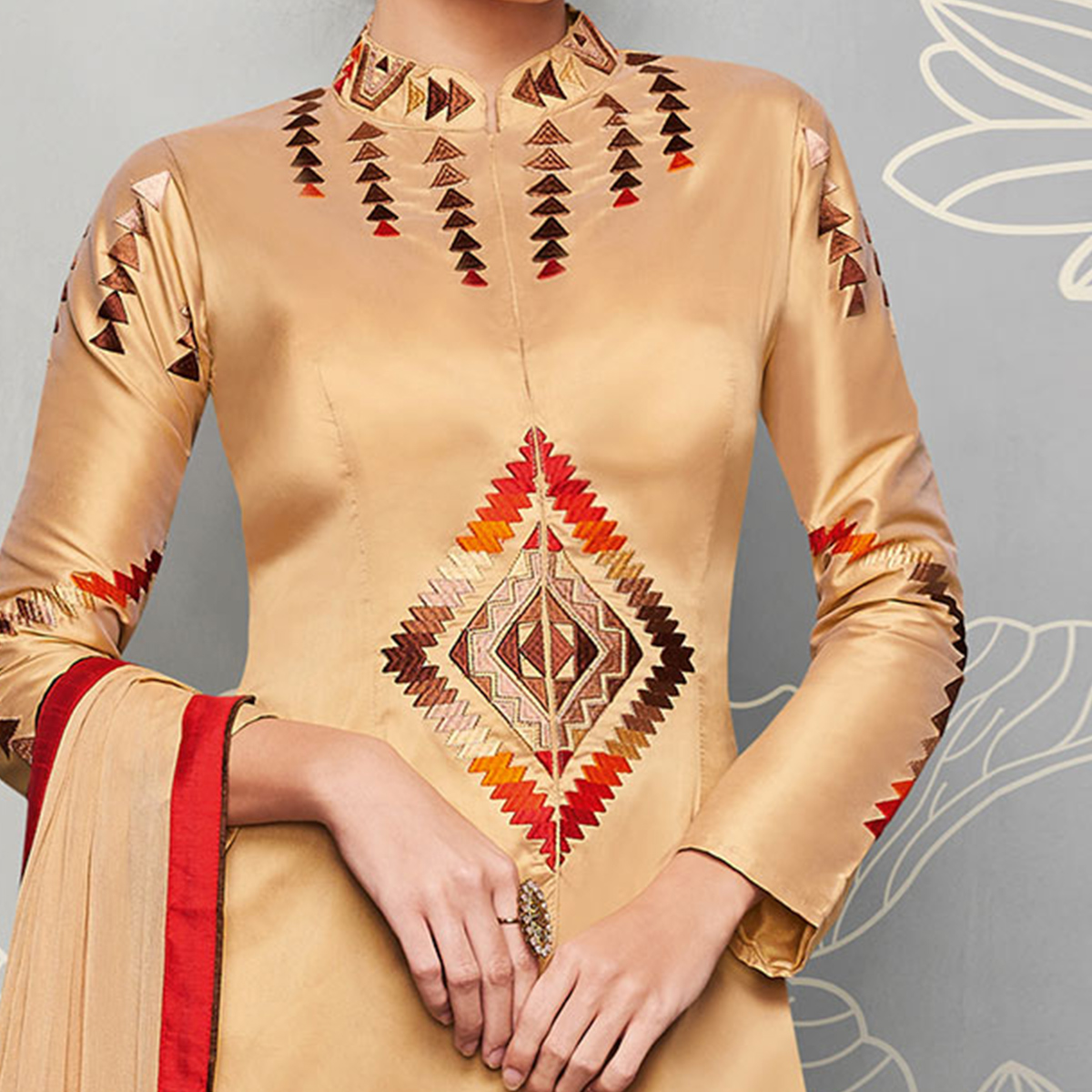 Beige Designer Embroidered Party Wear Silk Suit