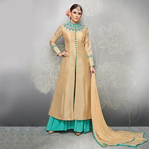 Beige And Turquoise Colour Designer Embroidered Party Wear Silk Palazzo Suits