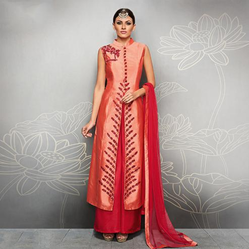 Peach And Red Designer Embroidered Party Wear Silk Palazzo Suits