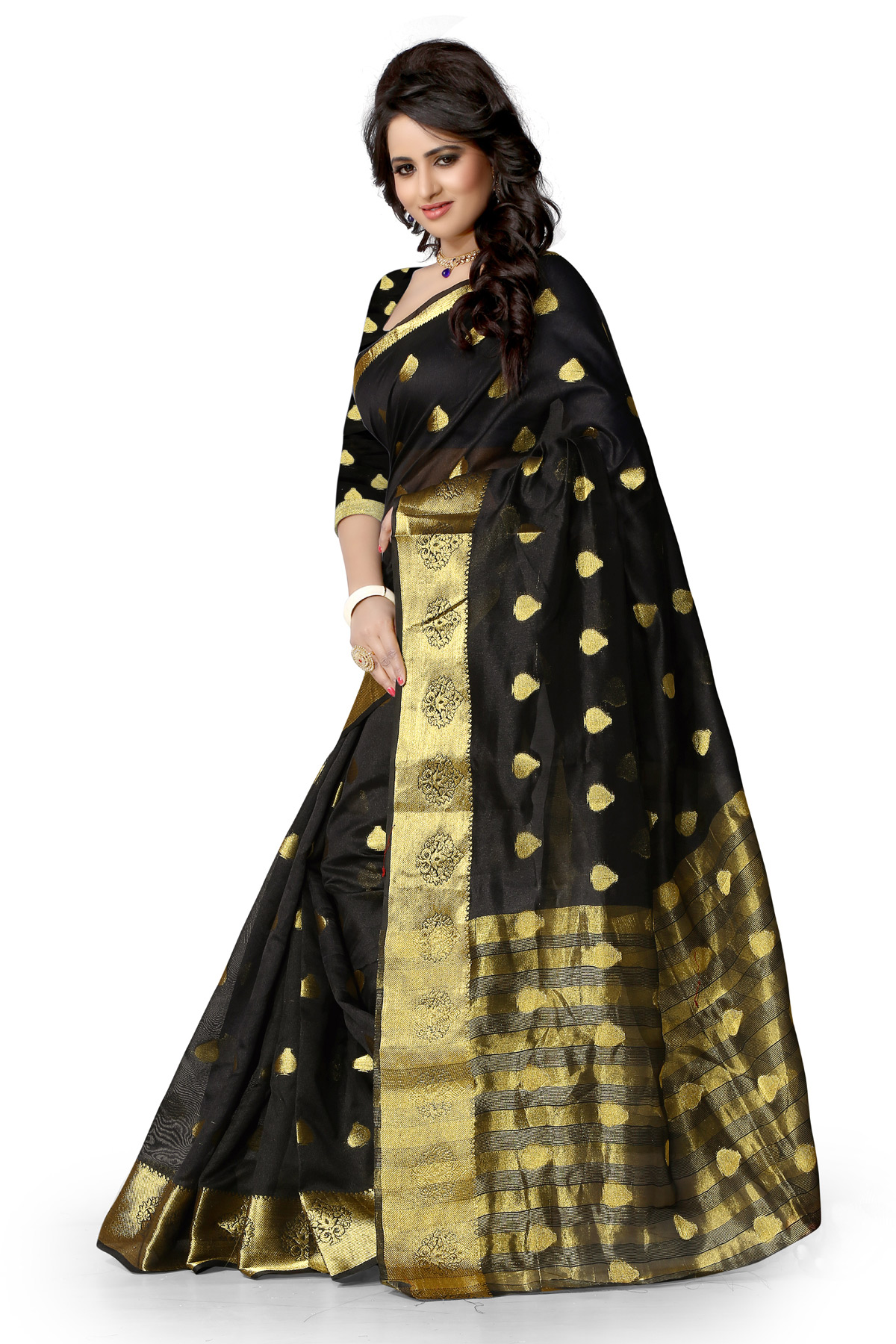 Black Art Silk Weaved Saree