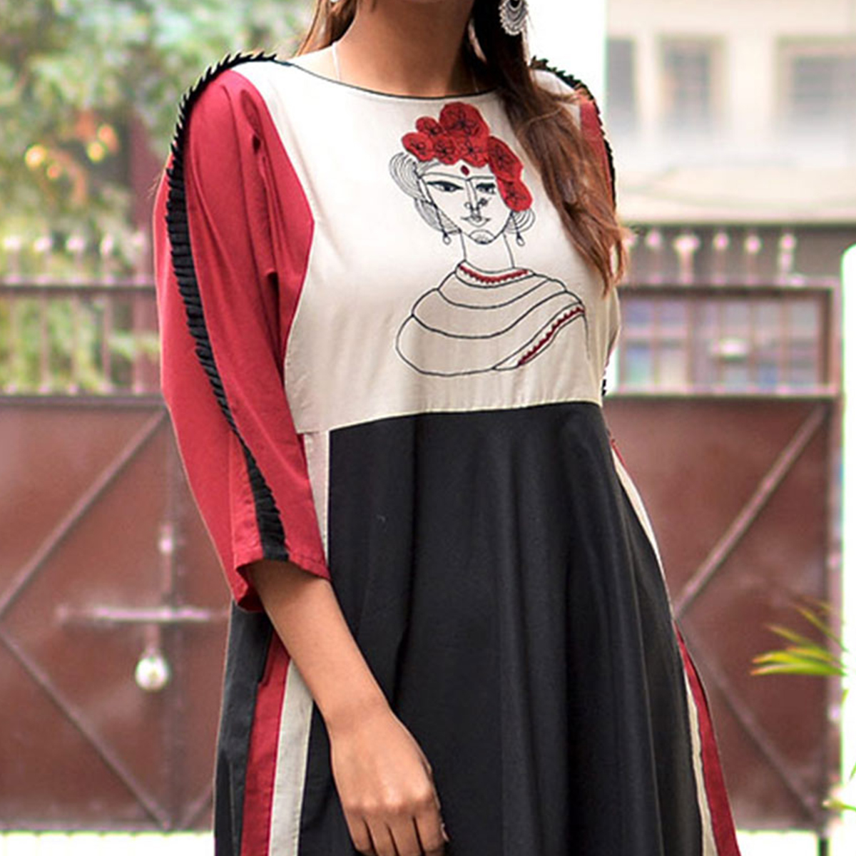 Fancy Black - Maroon Printed Partywear Cotton Slub Kurti