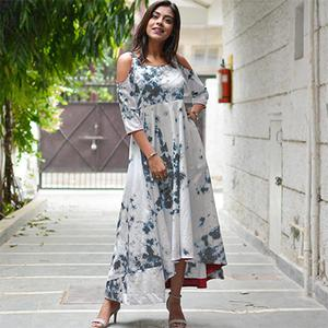 Stylish White - Grey Printed Partywear Heavy Cotton Kurti