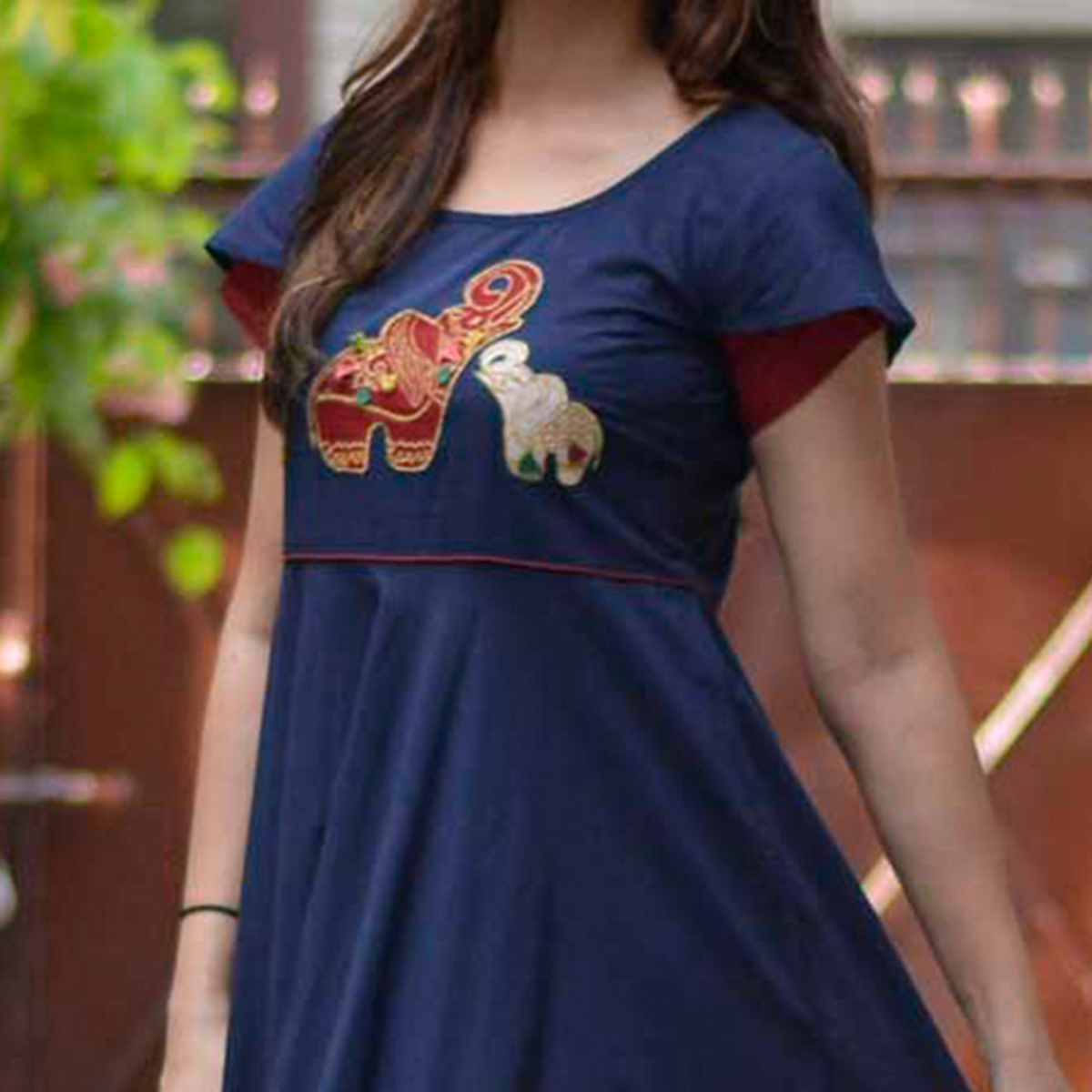 Trendy Navy Blue Partywear Pure Cotton Kurti