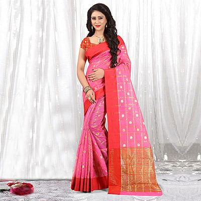 Beautiful Pink Colored Festive Wear Woven Cotton Linen Saree
