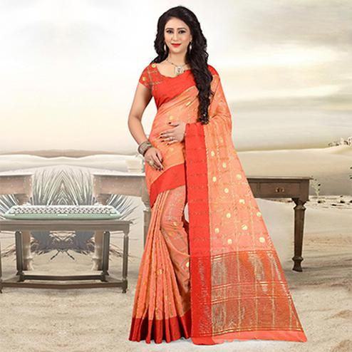 Lovely Orange Colored Festive Wear Woven Cotton Linen Saree