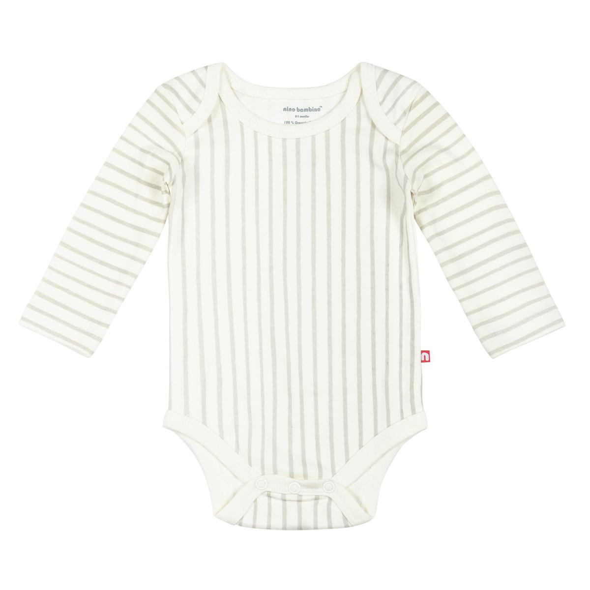 Nino Bambino -  100% Organic Cotton Round Neck Full Sleeve Vertical Striped Cream Color Bodysuit For Baby Boy And Baby Girl