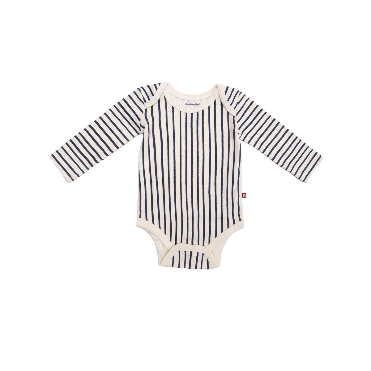 Nino Bambino - 100% Organic Cotton Round Neck Full Sleeve Vertical Striped Black & Cream Color Bodysuit For Baby Boy And Baby Girl