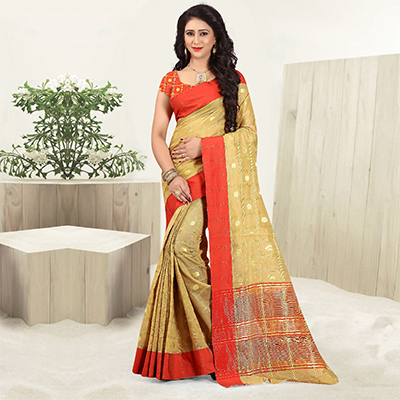 Sensational Golden Colored Festive Wear Woven Cotton Linen Saree