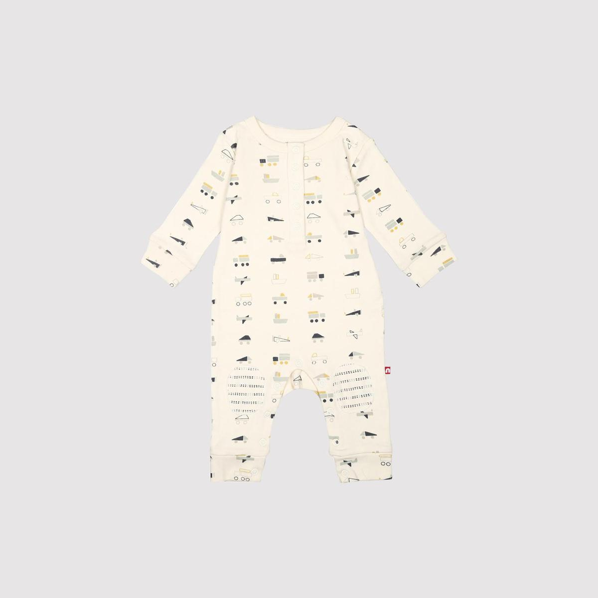 Nino Bambino - 100% Organic Cotton Round Neck Cream Color Long Sleeve Romper For Baby Girls And Baby Boys