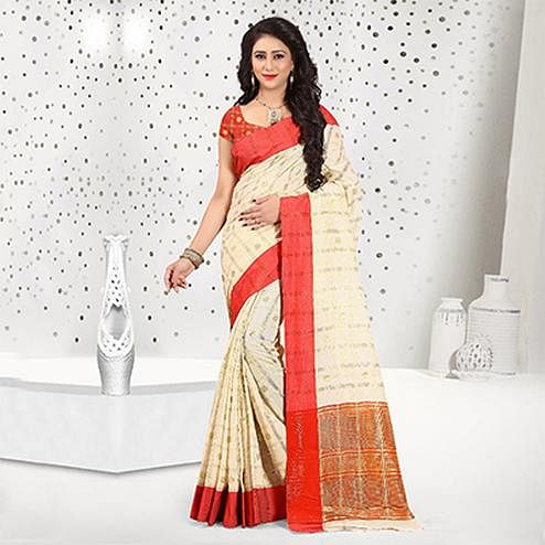 Classy Off-White Colored Festive Wear Woven Cotton Linen Saree